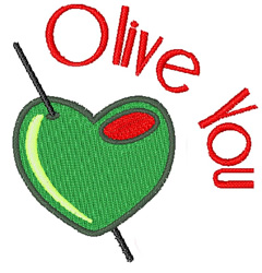 Olive You embroidery design
