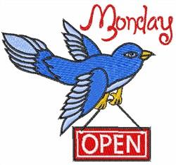 Blue Bird Monday embroidery design