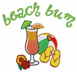 Beach Bum embroidery design