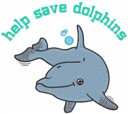 Help Save Dolphins embroidery design