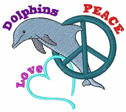 Peace Love Dolphins embroidery design