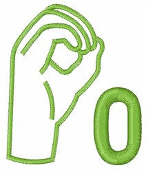 Sign Language 0 embroidery design