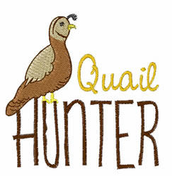 Quail Hunter embroidery design