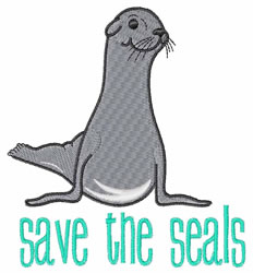 Save The Seals embroidery design