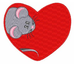 Mouse In Heart embroidery design