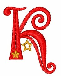 Starry Christmas Font K embroidery design