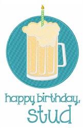 Happy Birthday Stud embroidery design