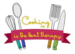 Cooking Is Therapy embroidery design
