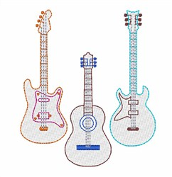 Linework Guitars embroidery design