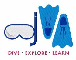 Dive Explore embroidery design
