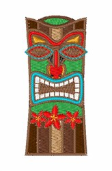 Tiki Statue embroidery design