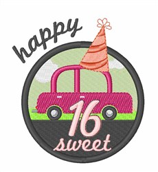 Happy Sixteen embroidery design