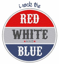 Rock Red White Blue embroidery design