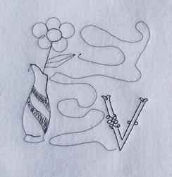 Letter V Quilt Square embroidery design