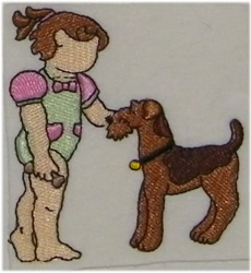 Girl with Dog embroidery design