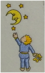 Child And Moon embroidery design