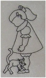 Girl and Cat embroidery design