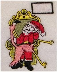 Santa With Flamingo embroidery design