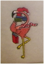 Flamingo With Gifts embroidery design