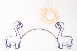 Dinosaurs And Sun embroidery design