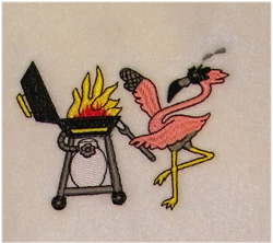 Flamingo Grilling embroidery design