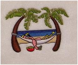 Flamingo In Hammock embroidery design