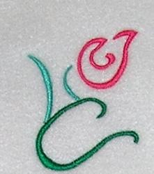 Rosebud Outline embroidery design