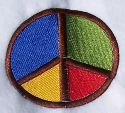 Multicolored Peace embroidery design