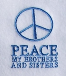 Peace embroidery design