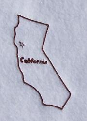 California Outline embroidery design