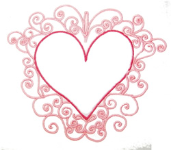 Fancy  Heart Outline embroidery design
