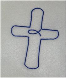 Jesus Fish Cross embroidery design