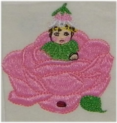 Baby In A Rose embroidery design