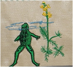 Frog in Pond embroidery design