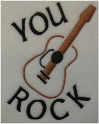 You Rock Guitar embroidery design