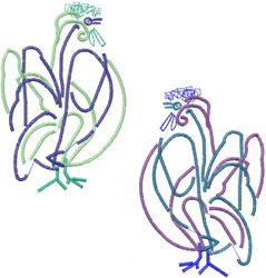 Abstract Roosters embroidery design