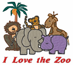I Love The Zoo embroidery design
