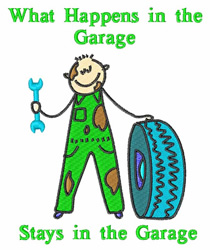 In The Garage embroidery design
