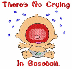 No Crying embroidery design