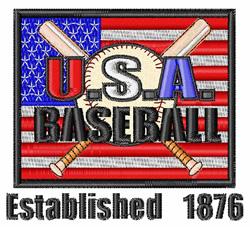 Baseball USA Flag embroidery design
