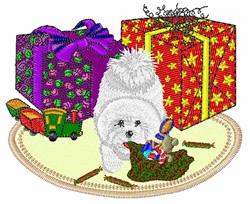 Bichon Christmas embroidery design