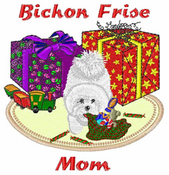 Bichon Frise Mom embroidery design