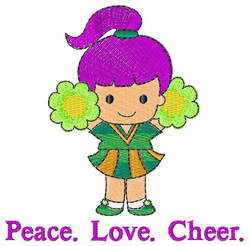 Peace Love Cheer embroidery design