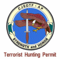 Terrorist Hunting Permit embroidery design