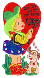 Cowgirl With Puppy embroidery design
