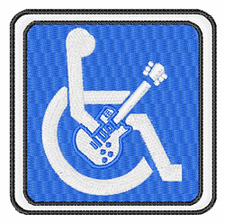 Handicapped Guitar embroidery design