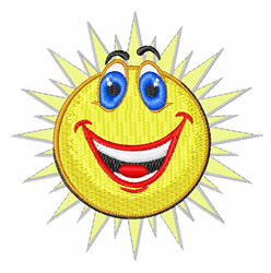 Sun Smiley embroidery design