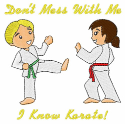 I Know Karate embroidery design