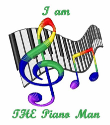 The Piano Man embroidery design