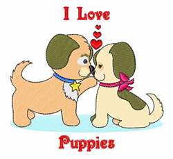 I Love Puppies embroidery design
